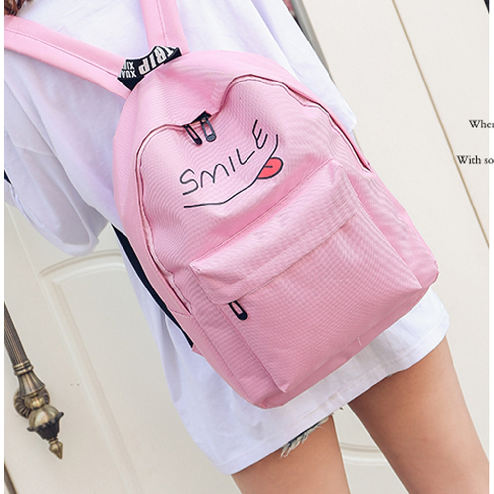Girls Backpack Set 3 Pcs Letter Cartoon Girls Bags PINK