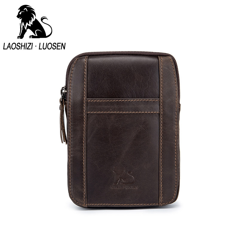 LAOSHIZI LUOSEN Spring New Arrival Genuine Leather Cowhide for  Men's Cell Phone Bags COFFEE VERTICAL