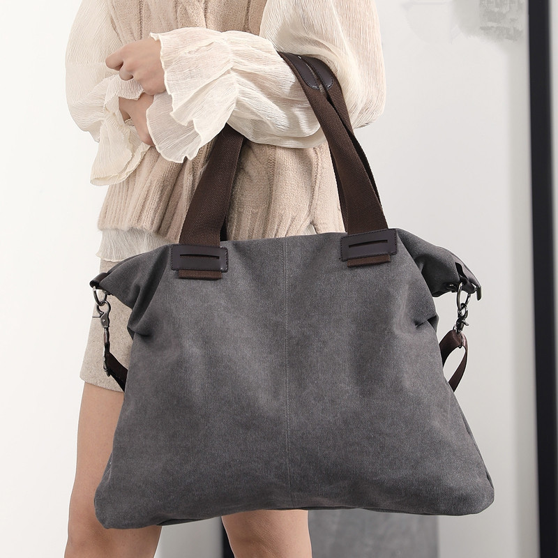 DA3405Ladies Casual Canvas Satchel Bag To Increase Travel LIGHT GRAY