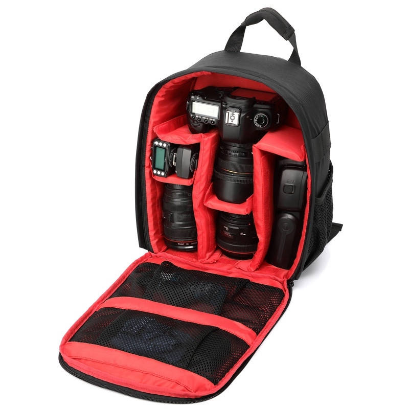 Camera Bag Camera Backpack Waterproof with Rain Cover for Cameras Lens Tripod RED