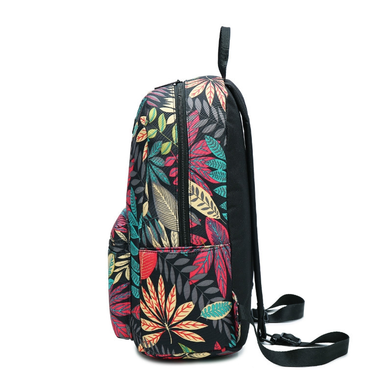 Women'S Backpack Color Block Print Large Capacity Fashionable Bag WOODLAND CAMOUFLAGE VERTICAL