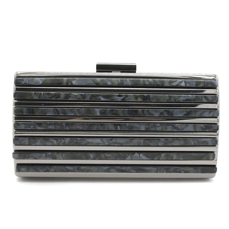 Acrylic Stripe Splice  Evening Clutch Bag BLACK HORIZONTAL