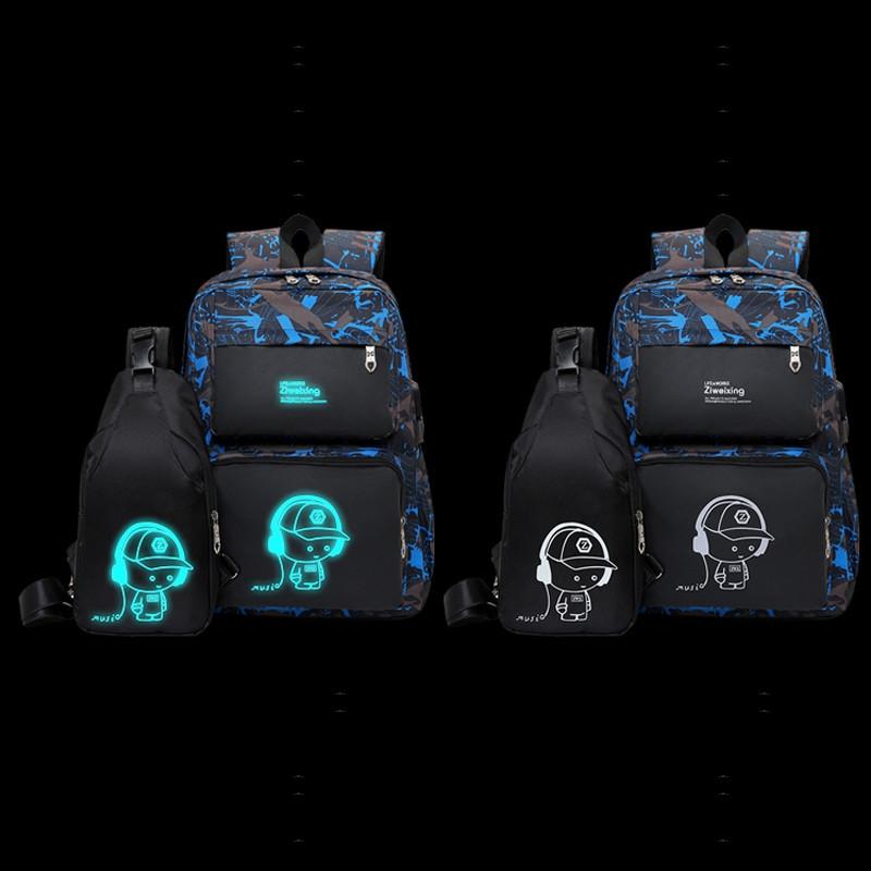 Men Backpacks Luminous Printing Women Backbag High Quality School Bags For Teenage Girls Cute Bookbags Mochila DODGER BLUE
