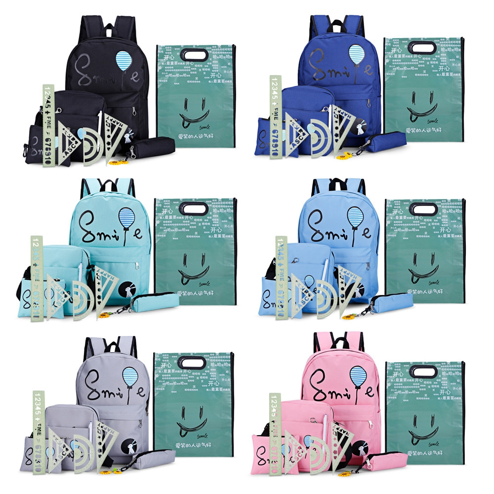 7pcs Cartoon Letter Print Backpack Women Canvas School Bag PINK VERTICAL