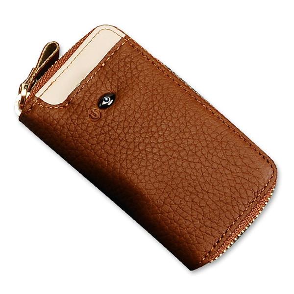 SMARTLB Men Genuine Leather Bluetooth Anti Lost / Theft Selfie Smart Key Wallet BROWN