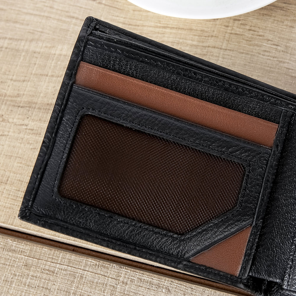 SMARTLB Men Genuine Leather Short Bluetooth Anti Lost / Theft Selfie Smart Wallet BLACK