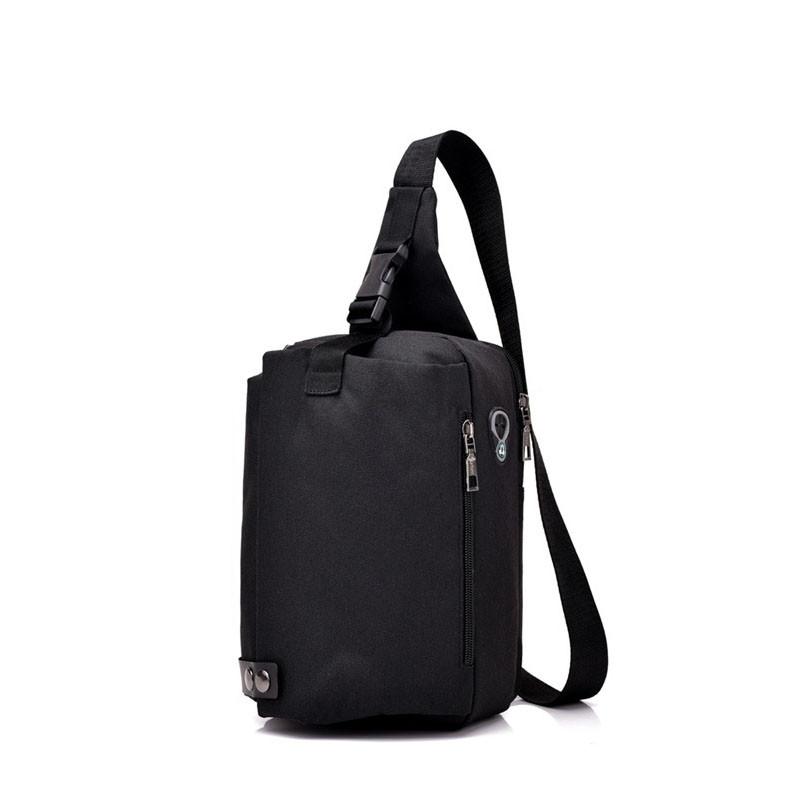 Men's Headphones Breast Bag Shoulder Messenger Backpack Outdoor Sports BLACK VERTICAL