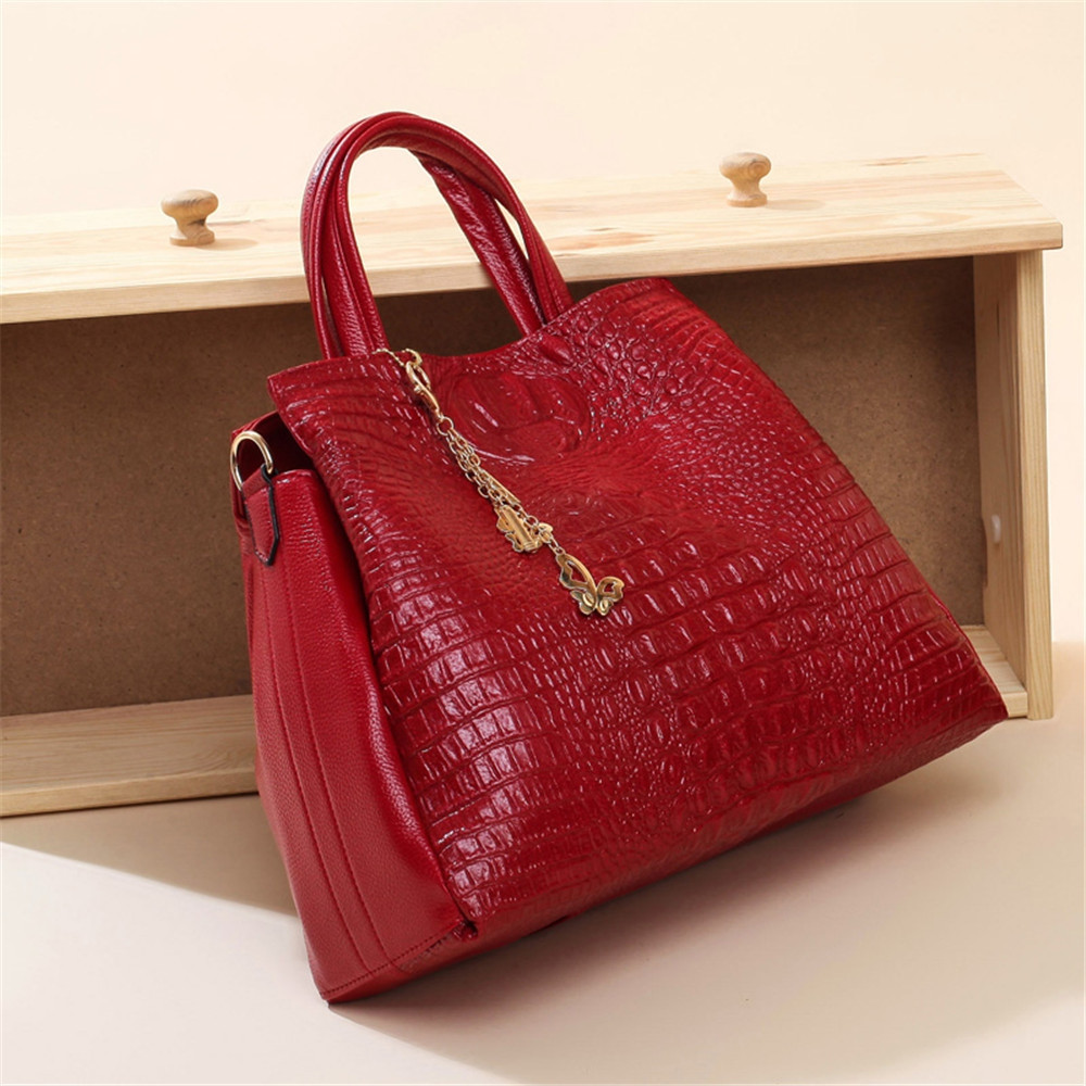Fashion PU Leather Shoulder Bags Brand High Quality Ladies Tote Bag Women Big Handbags 2 pieces RED