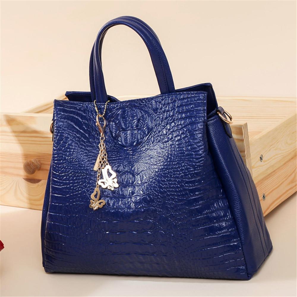 Fashion PU Leather Shoulder Bags Brand High Quality Ladies Tote Bag Women Big Handbags 2 pieces BLUE