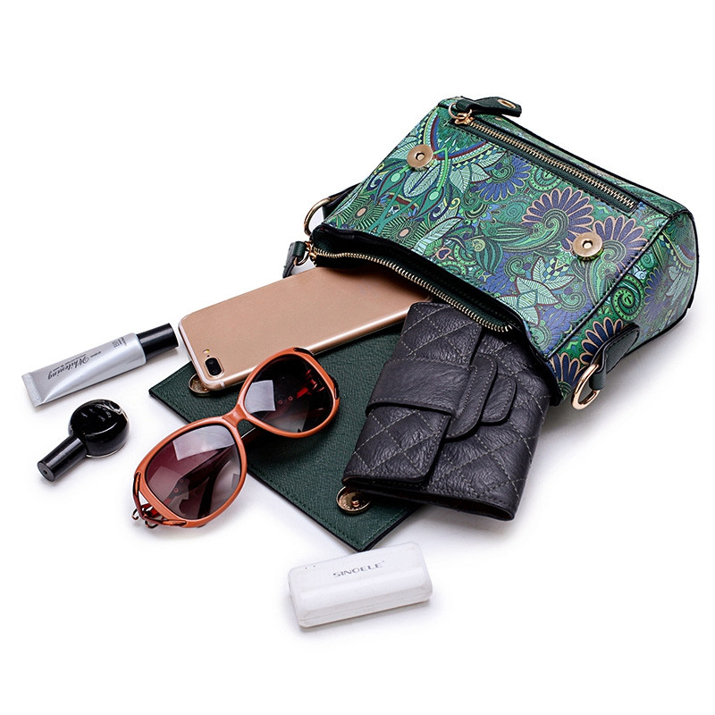 Fashion Women PU Leather Printing Messenger Bag Ladies Handbag Small Shoulder Bags GREEN