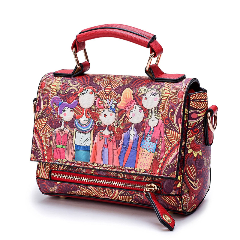 Fashion Women PU Leather Printing Messenger Bag Ladies Handbag Small Shoulder Bags RED
