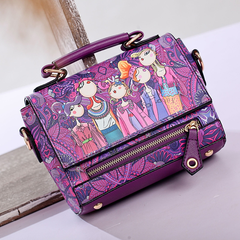 Fashion Women PU Leather Printing Messenger Bag Ladies Handbag Small Shoulder Bags PURPLE