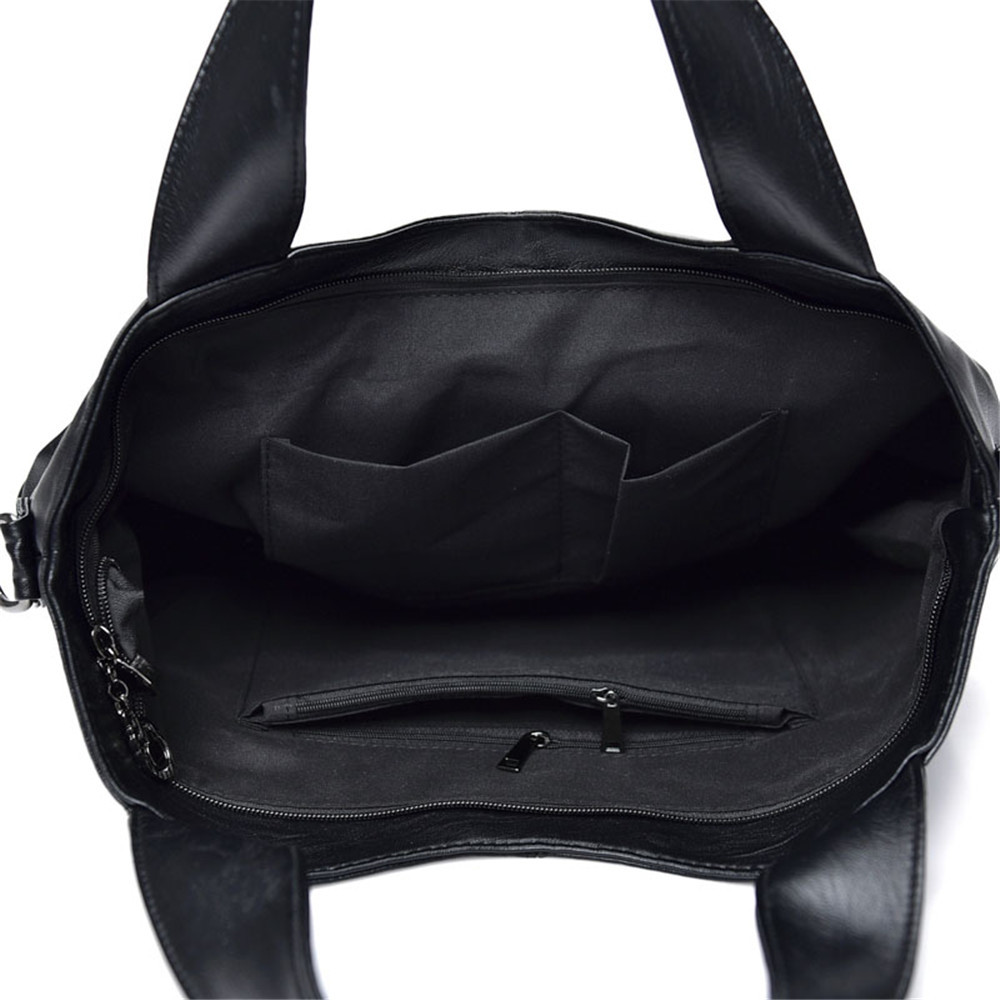 Women Quality PU Leather Patchwork Ladies Tote Bag Casual Handbags Messenger Shoulder Bags 2 Pieces BLACK