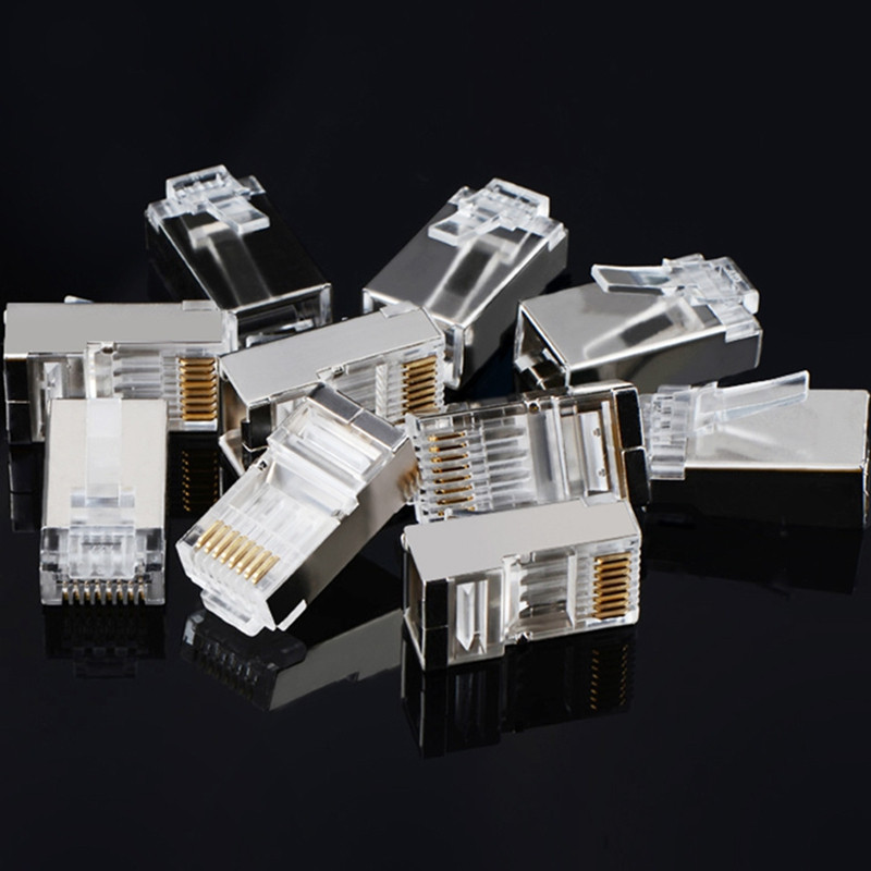 8P8C Modular Ethernet Cable Head Plug Gold-plated Cat 6 Crimp Network RJ45 Connector Cat6 10pcs
