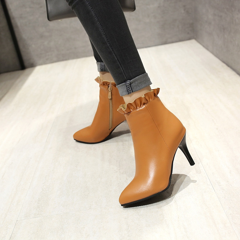 Large Size High Heel Pointed Top Zipper Professional Short Boots ORANGE GOLD EU 47
