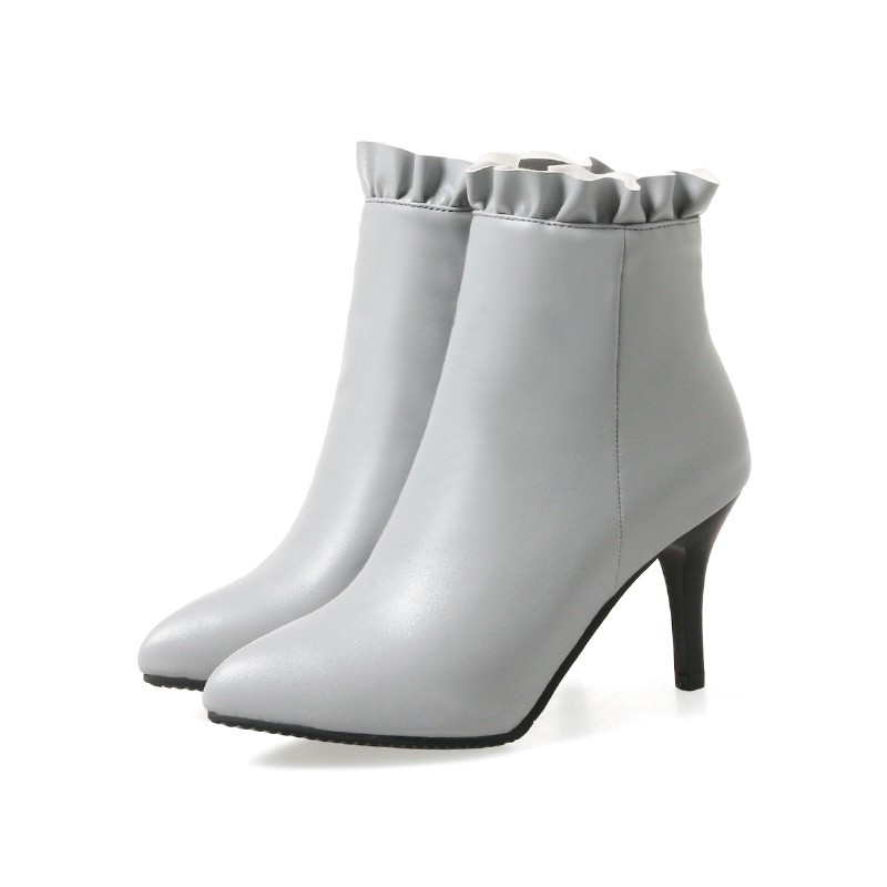 Large Size High Heel Pointed Top Zipper Professional Short Boots GRAY EU 46