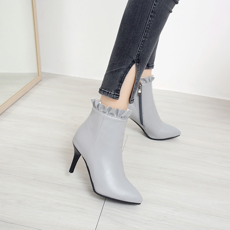 Large Size High Heel Pointed Top Zipper Professional Short Boots GRAY EU 37