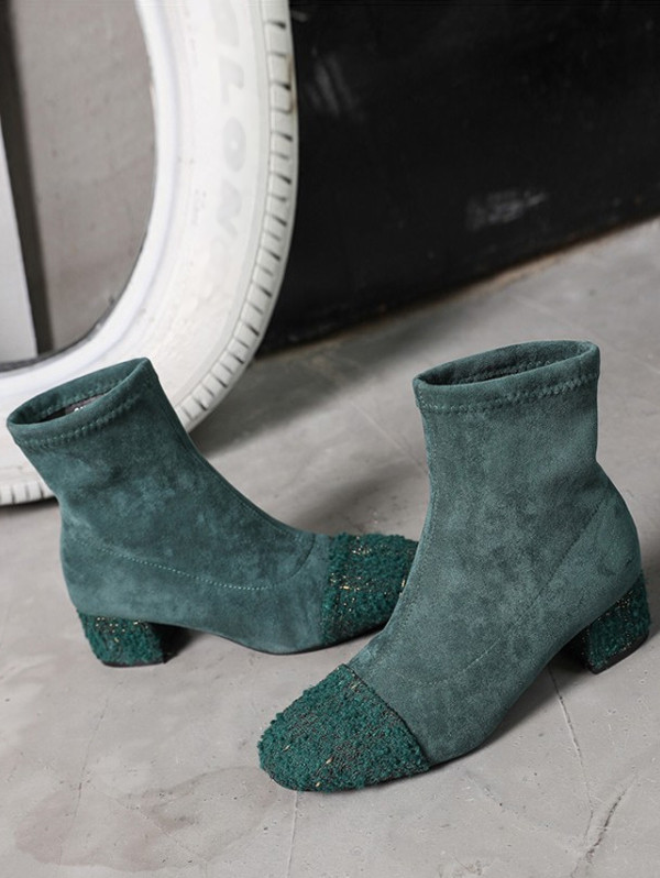 Chunky Heel Patch Suede Mid Calf Boots GREENISH BLUE EU 38