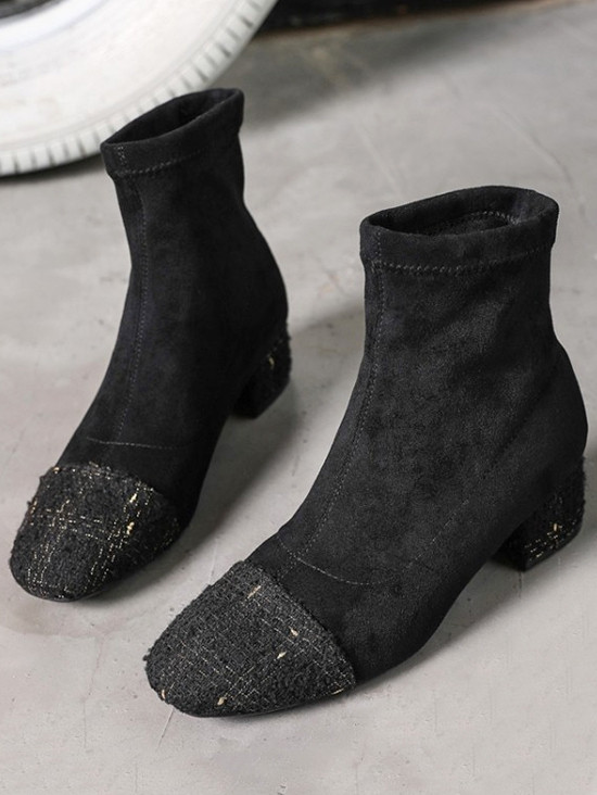 Chunky Heel Patch Suede Mid Calf Boots BLACK EU 37