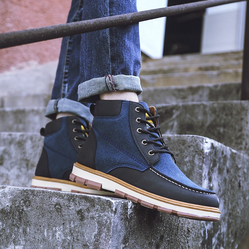 Men Shoes Outdoor Lace Up Fashion Classic Rubber Leather High Ankle Boots BLUE EU 45