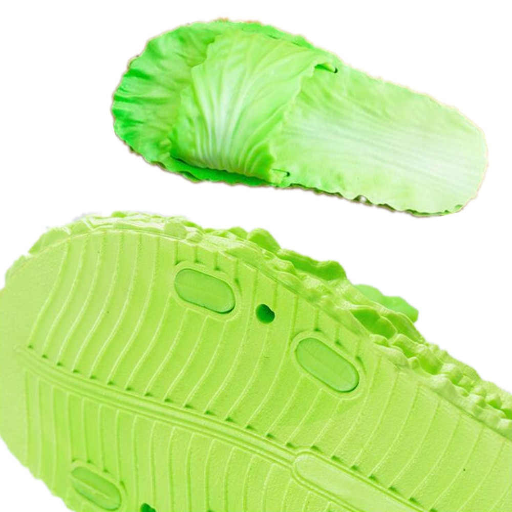 Creative Chinese Cabbage Slip-Proof Flexible Rubber Slippers By Network Celebrit GREEN EU (38-39)