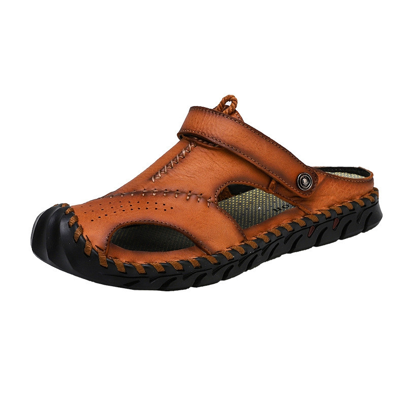 Genuine Leather Men Shoes Summer Leisure Beach Men'S Sandals High Quality BROWN EU 44
