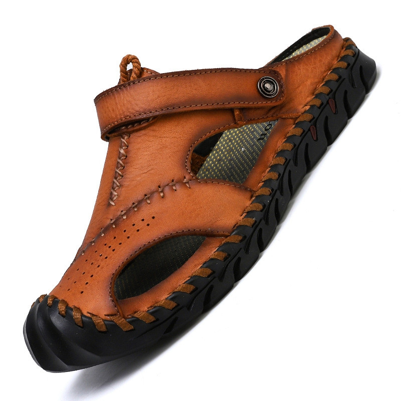 Genuine Leather Men Shoes Summer Leisure Beach Men'S Sandals High Quality BROWN EU 45