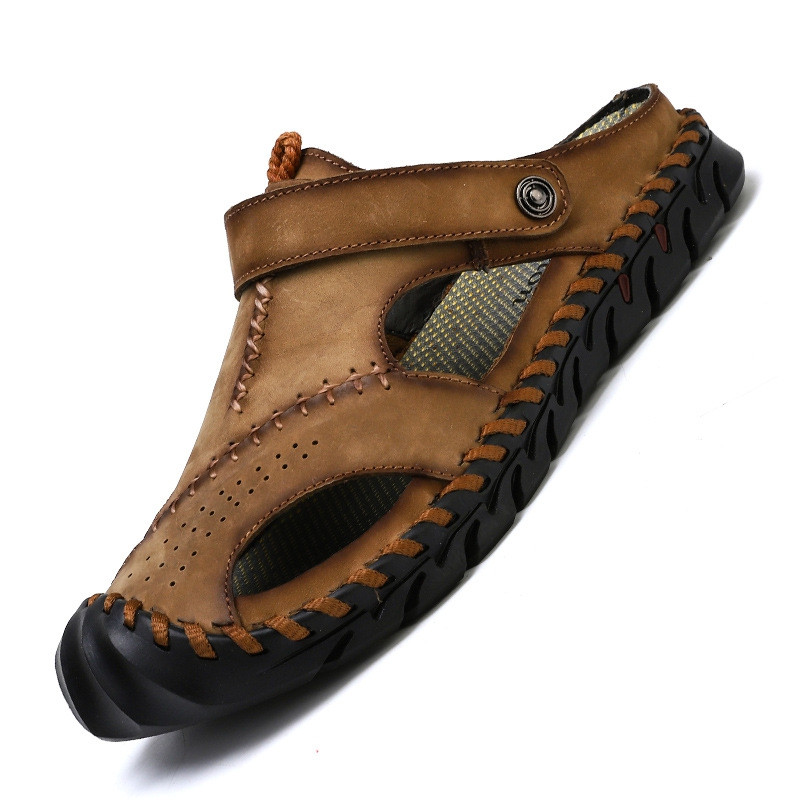 Genuine Leather Men Shoes Summer Leisure Beach Men'S Sandals High Quality WOOD EU 38