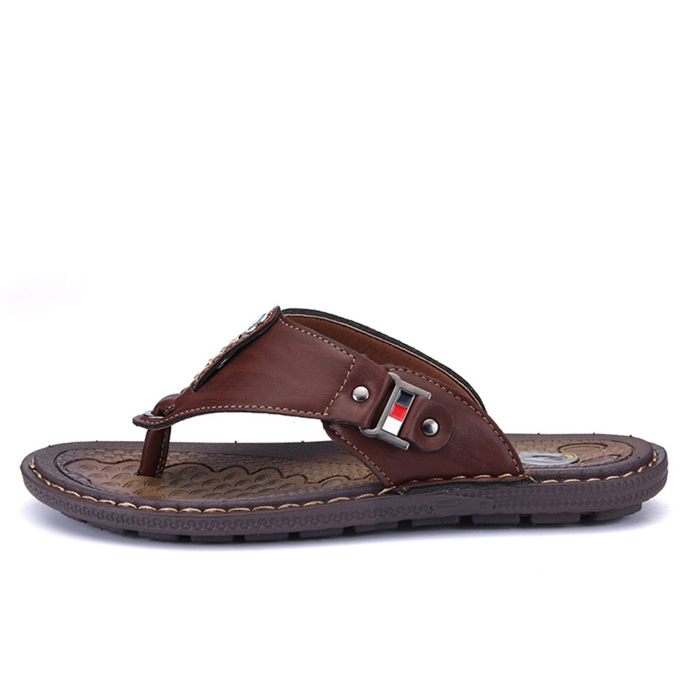 New Arrival Summer Men Flip Flops High Quality Beach Sandals Non-Slide Male BROWN EU 38