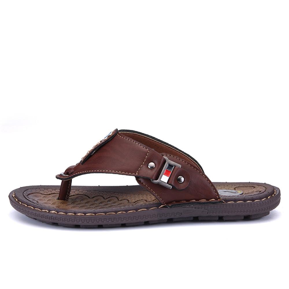 New Arrival Summer Men Flip Flops High Quality Beach Sandals Non-Slide Male BROWN EU 40