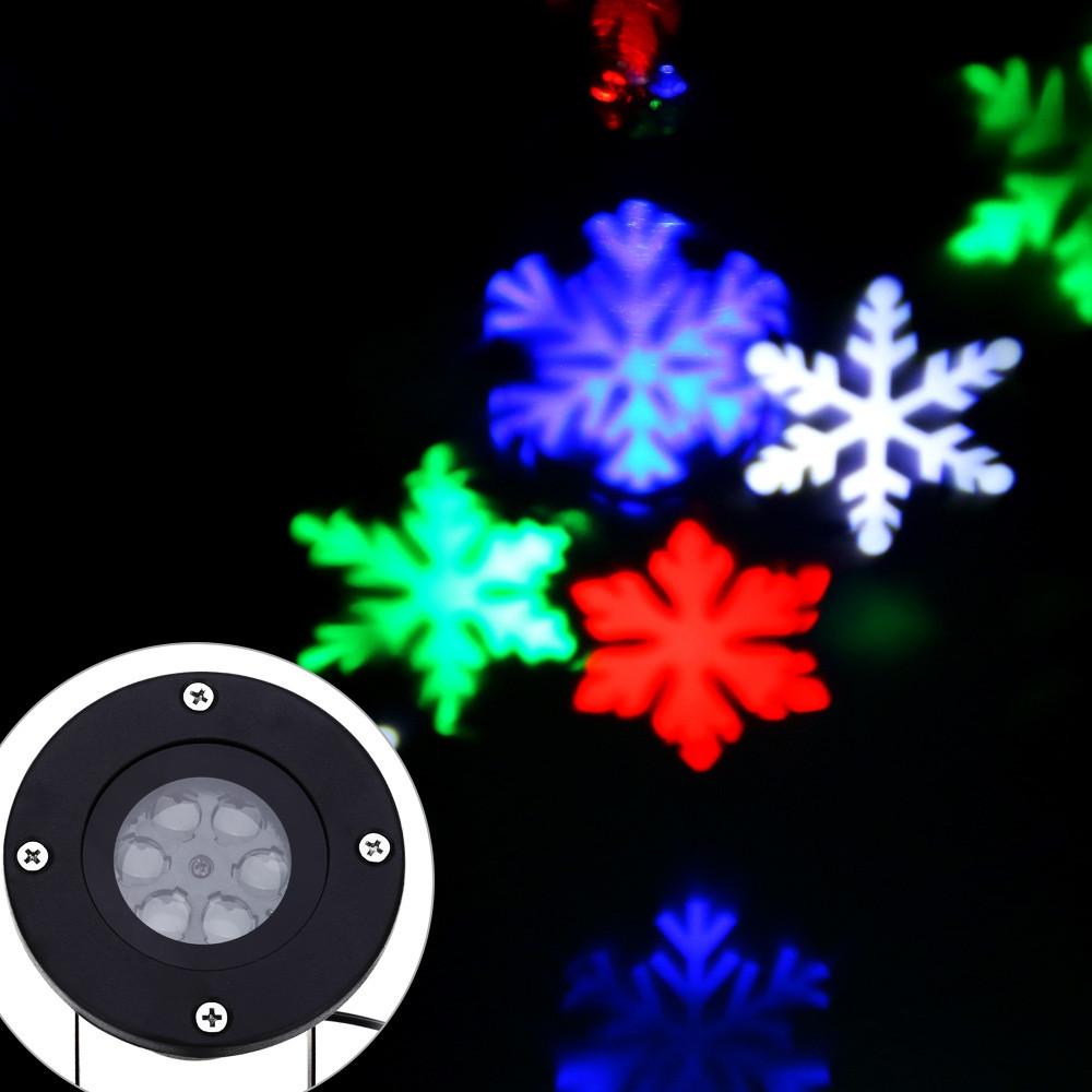 Lightme 110 - 240V 6W LED Waterproof Colorful Snowflake Light Landscape Projector Lamp BLACK US PLUG