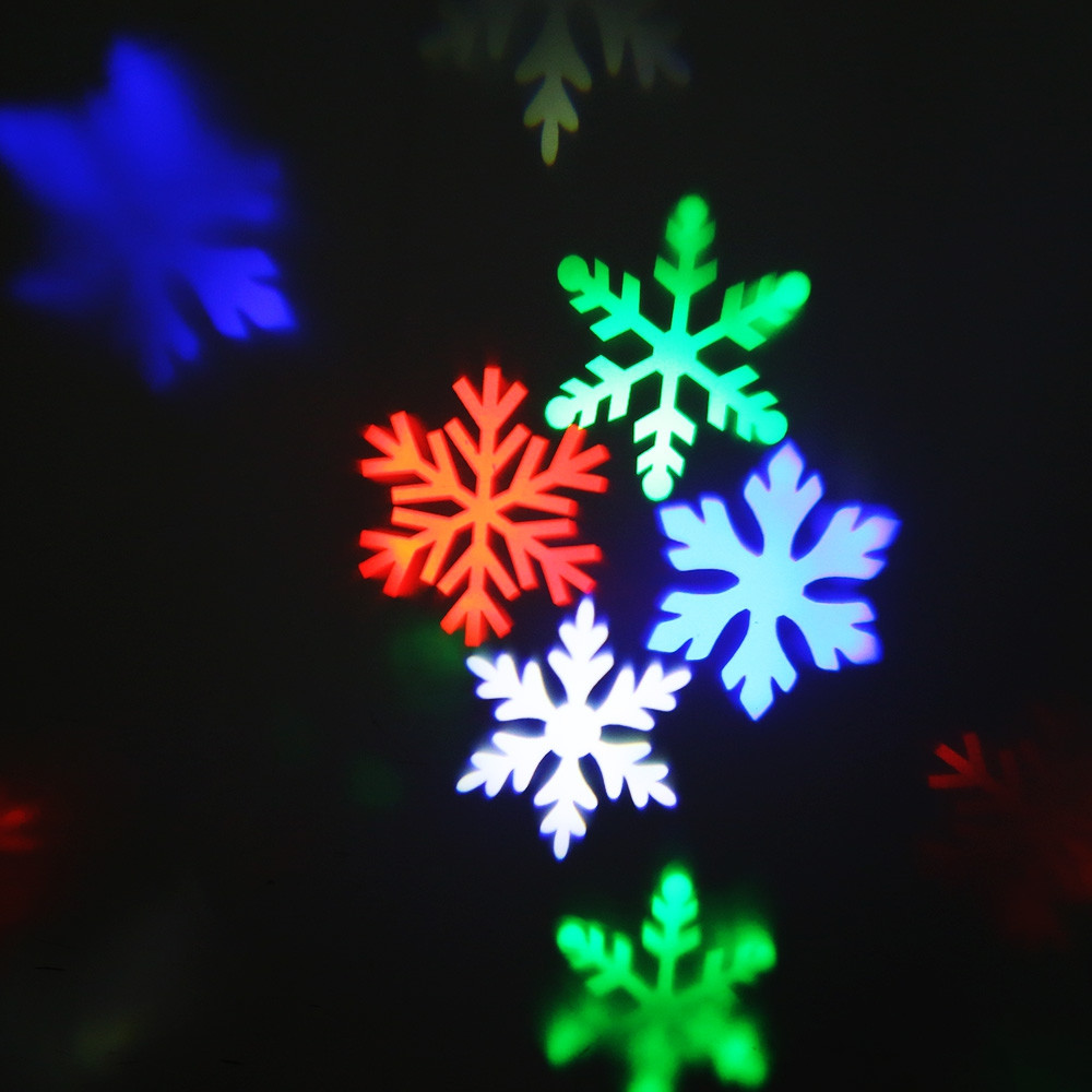 Lightme 110 - 240V 6W LED Waterproof Colorful Snowflake Light Landscape Projector Lamp BLACK EU PLUG