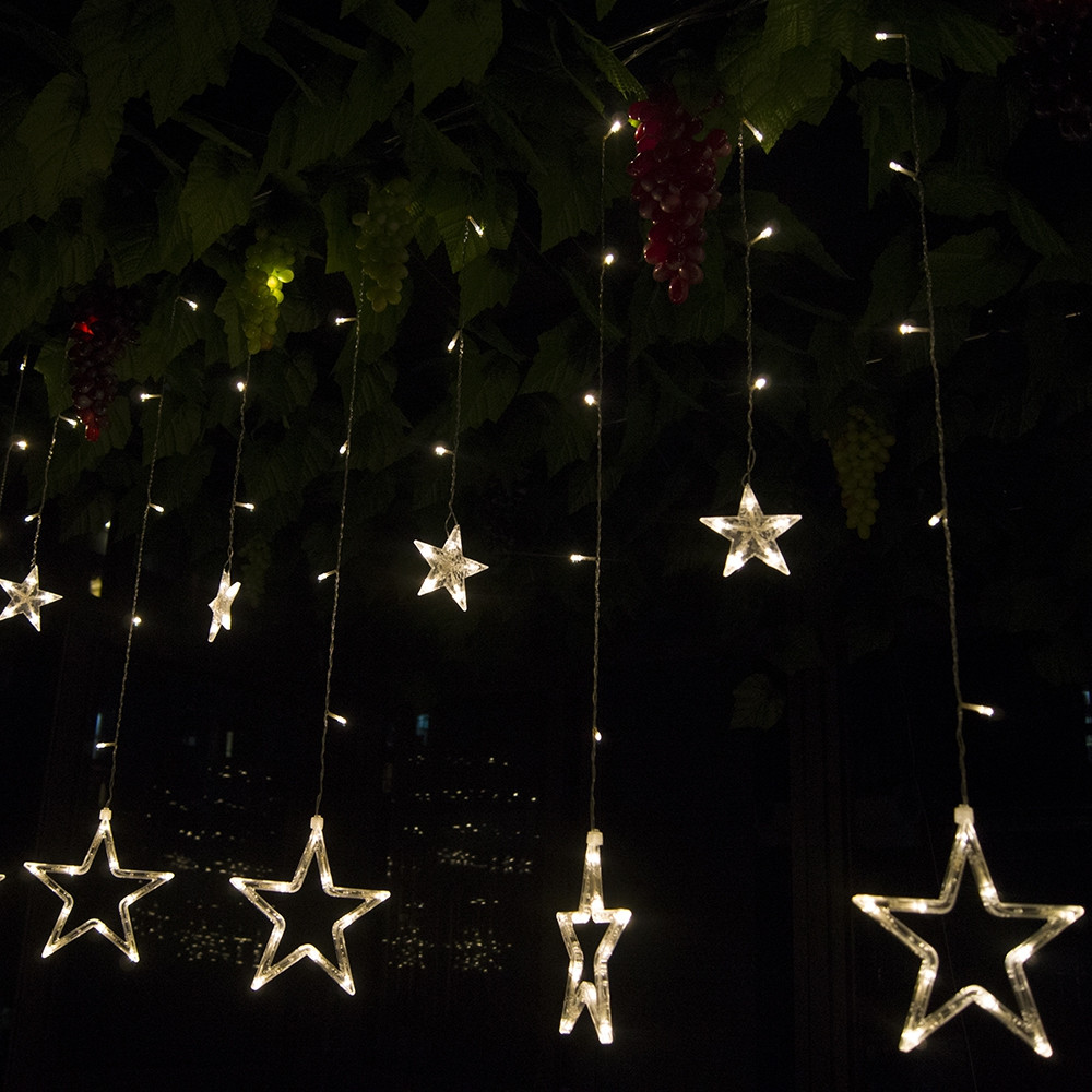 12 LEDs Star String Light Decoration Lamp for Wedding Party WARM WHITE LIGHT US PLUG