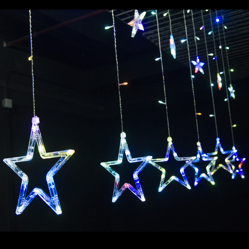 12 LEDs Star String Light Decoration Lamp for Wedding Party COLORFUL EU PLUG