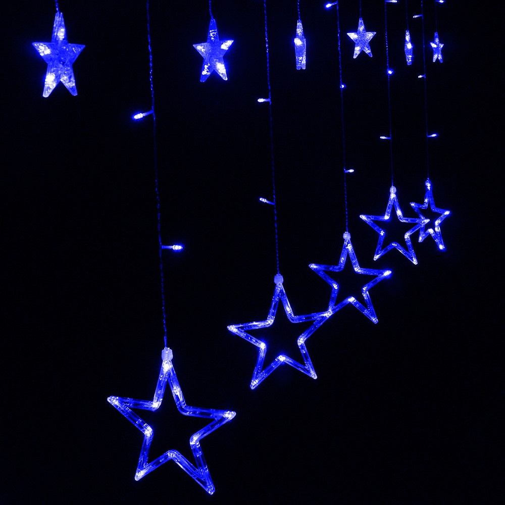 12 LEDs Star String Light Decoration Lamp for Wedding Party BLUE US PLUG