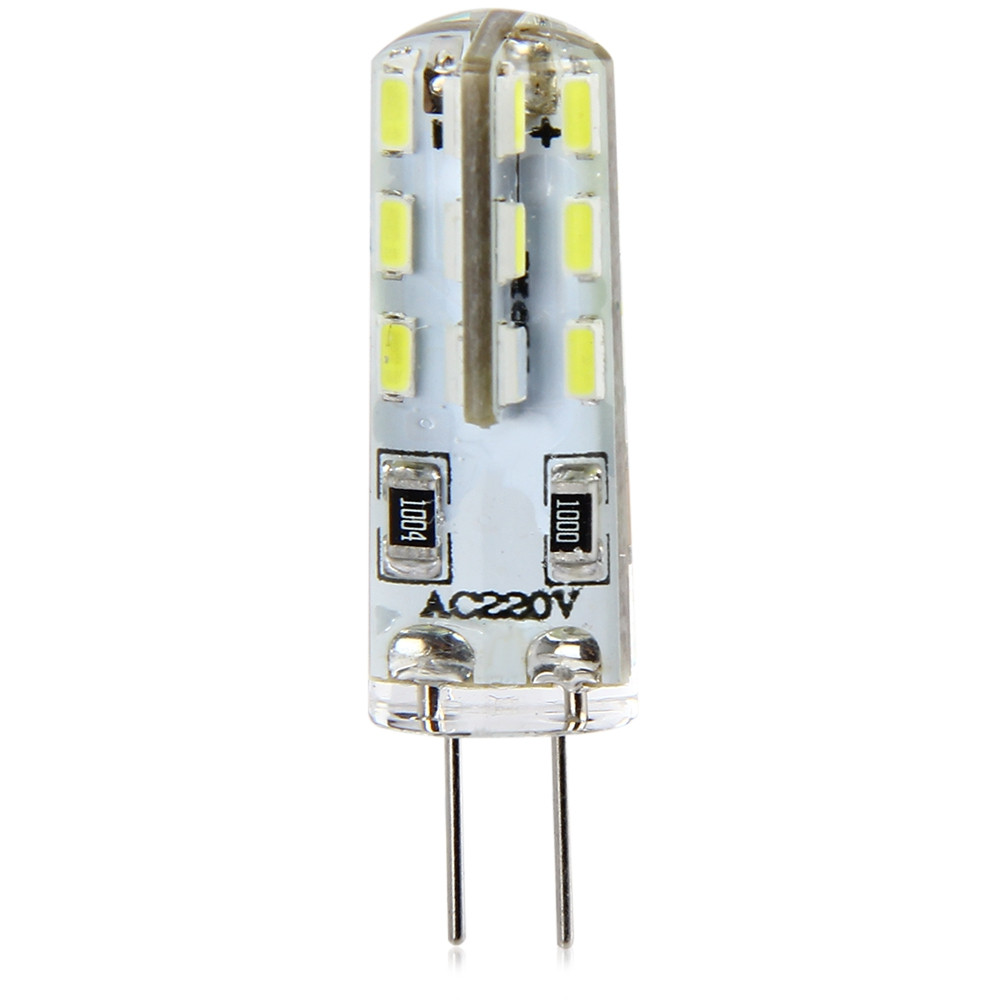 10pcs G4 Base 24 LED Lamp Bulb 3W AC 220V White Light SMD 3014 360 Degrees Beam Angle WHITE