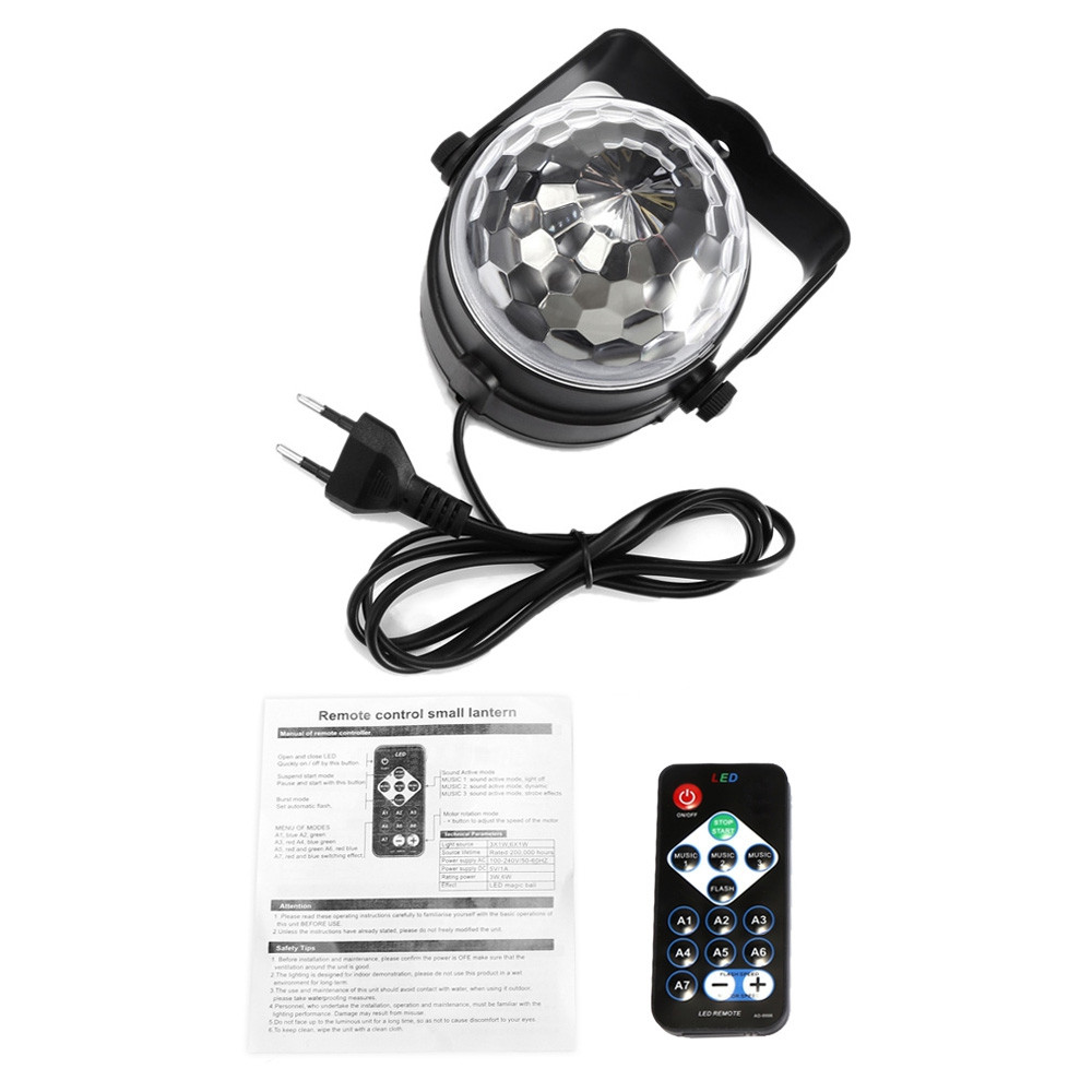 MGY - 019 RGB LED Party Effect Disco Ball Light Stage Lighting BLACK EU PLUG