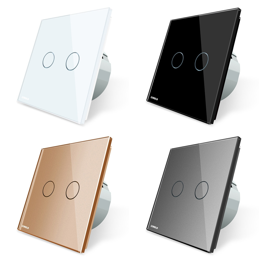 LIVOLO C7 Wall Light 2 Touch Switches Tempered Glass Panel WHITE