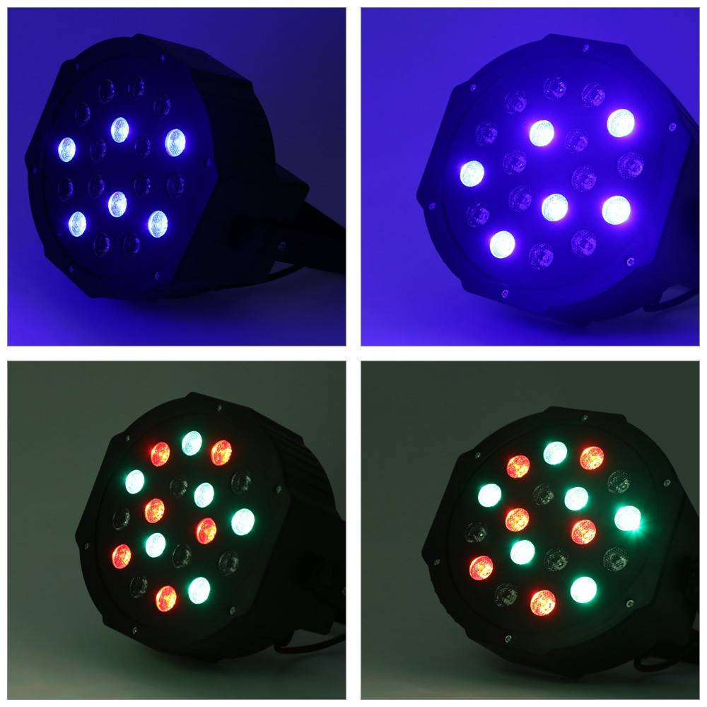 2pcs 18W LED RGB Stage Par Light with DMX-512 Control for Disco DJ BLACK EU PLUG