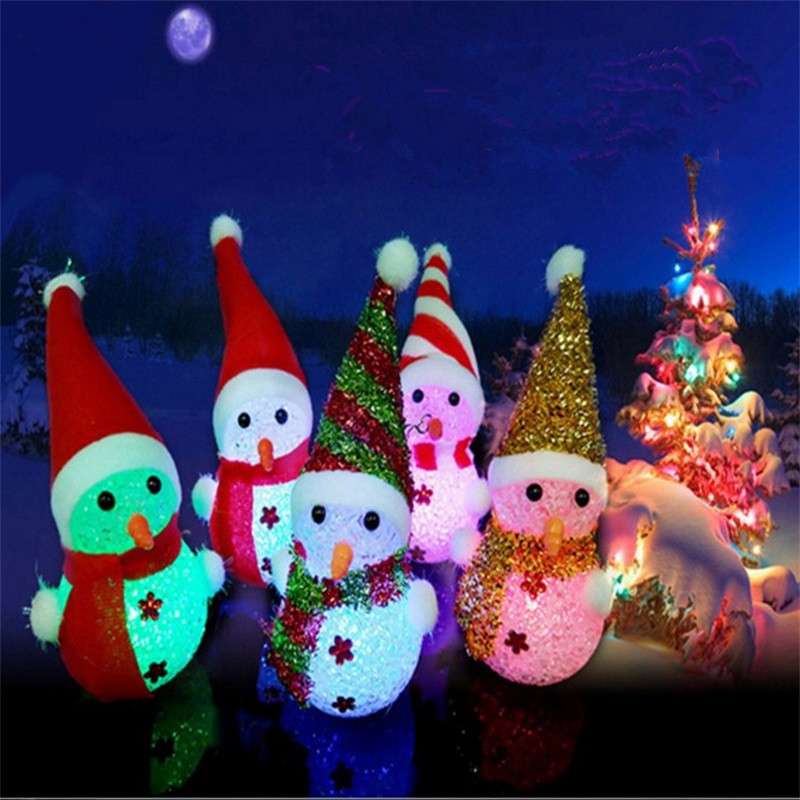 JUEJA Novelty  LED Glowing Christmas Snowman RGB Colour Night Light for Children Romantic Home Decorative RGB COLOR