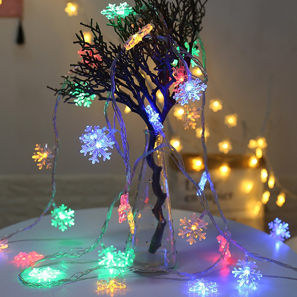 20 LEDs Christmas Snowflake String Light MULTI