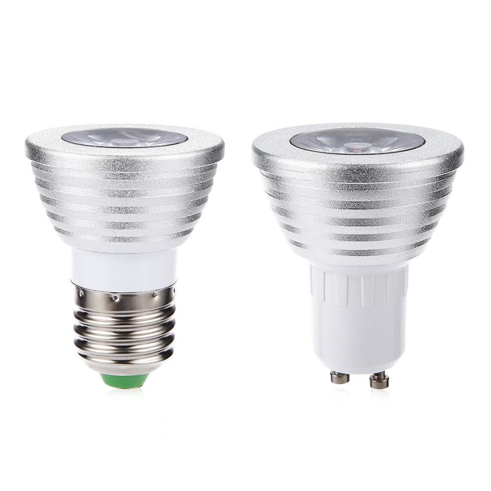 3W RGB LED Spotlight Colorful Lamp with 24 Key IR Remote Control RGB COLOR GU10