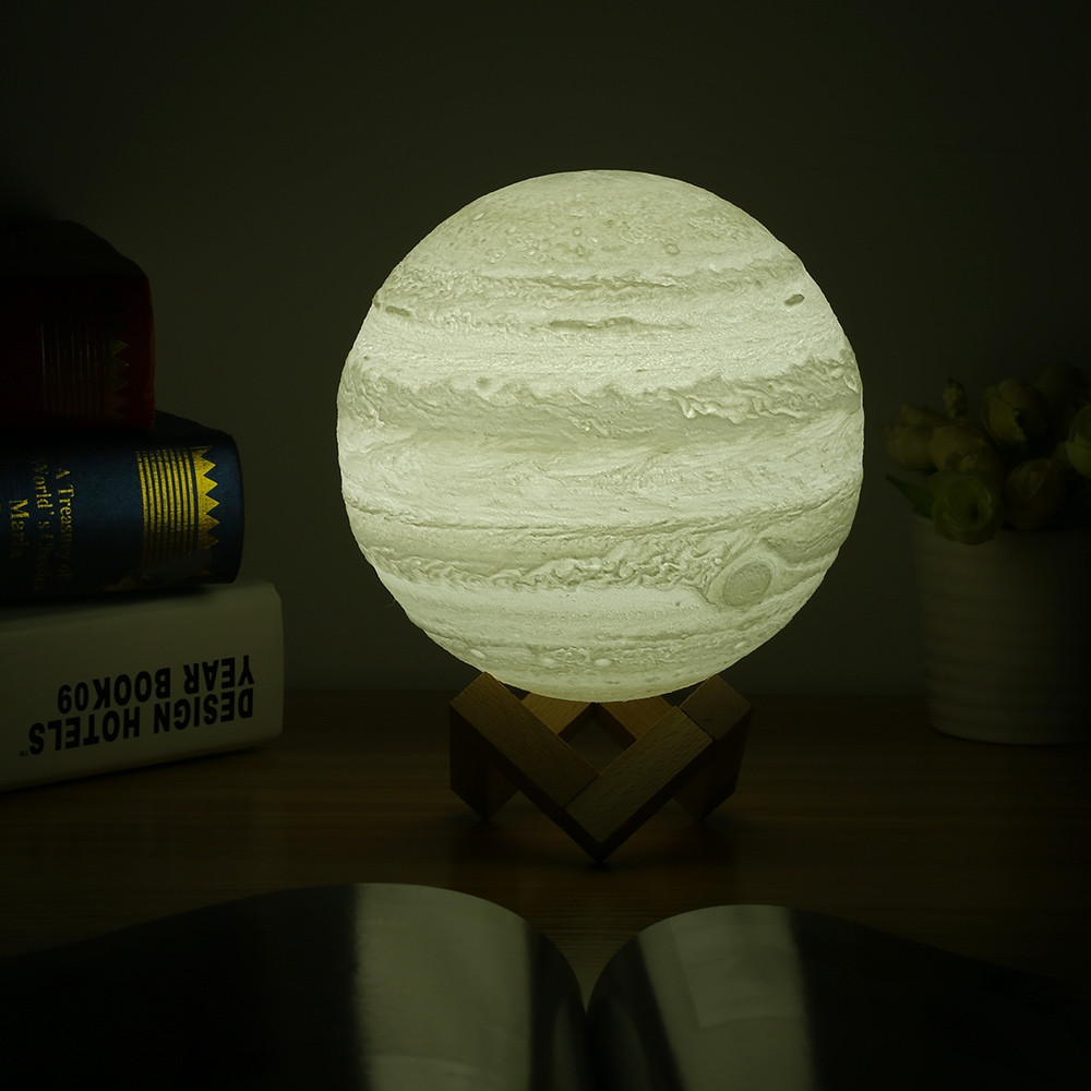 3D Printing Planet Light Pat Night Lamp Romantic for Bedroom Office WHITE