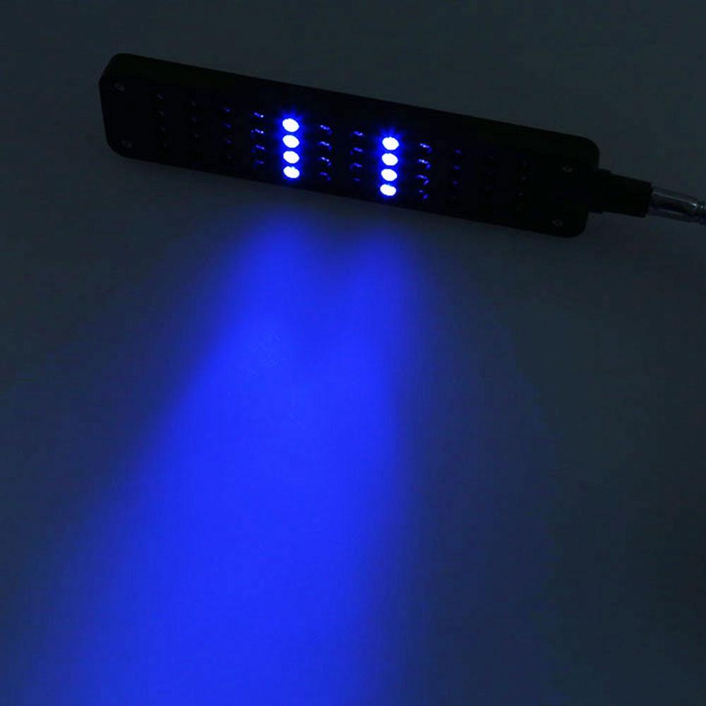 48 LEDs Blue White Fish Tank Light LED Clip Aquarium Lamp with Flexible Arm BLACK US PLUG