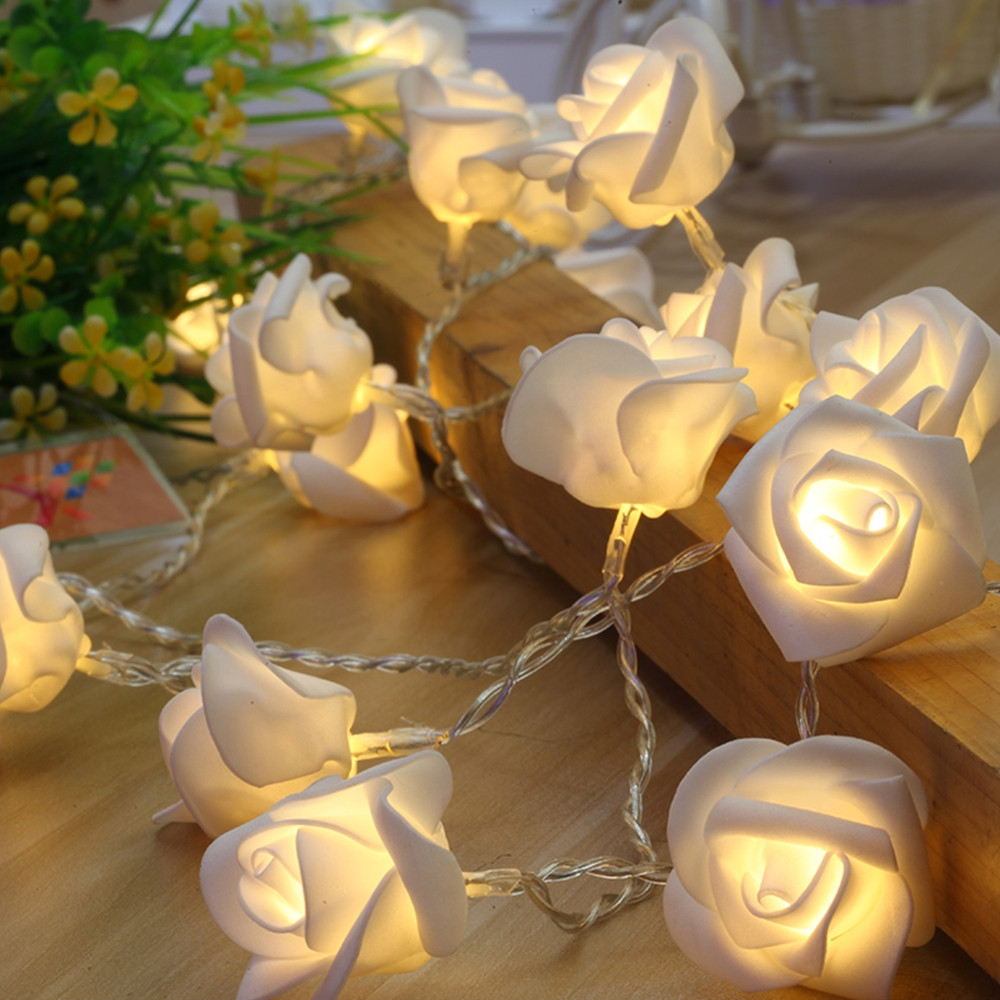 1.2m 10 LEDs Rose Flower Fairy String Lights WARM WHITE LIGHT