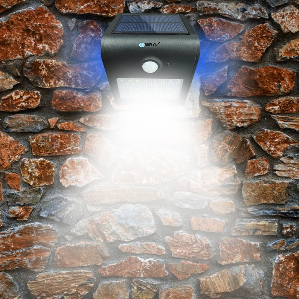 Brelong Solar Sensor Light 24LEDs Wall Lamp Garden Light Night Light BLACK