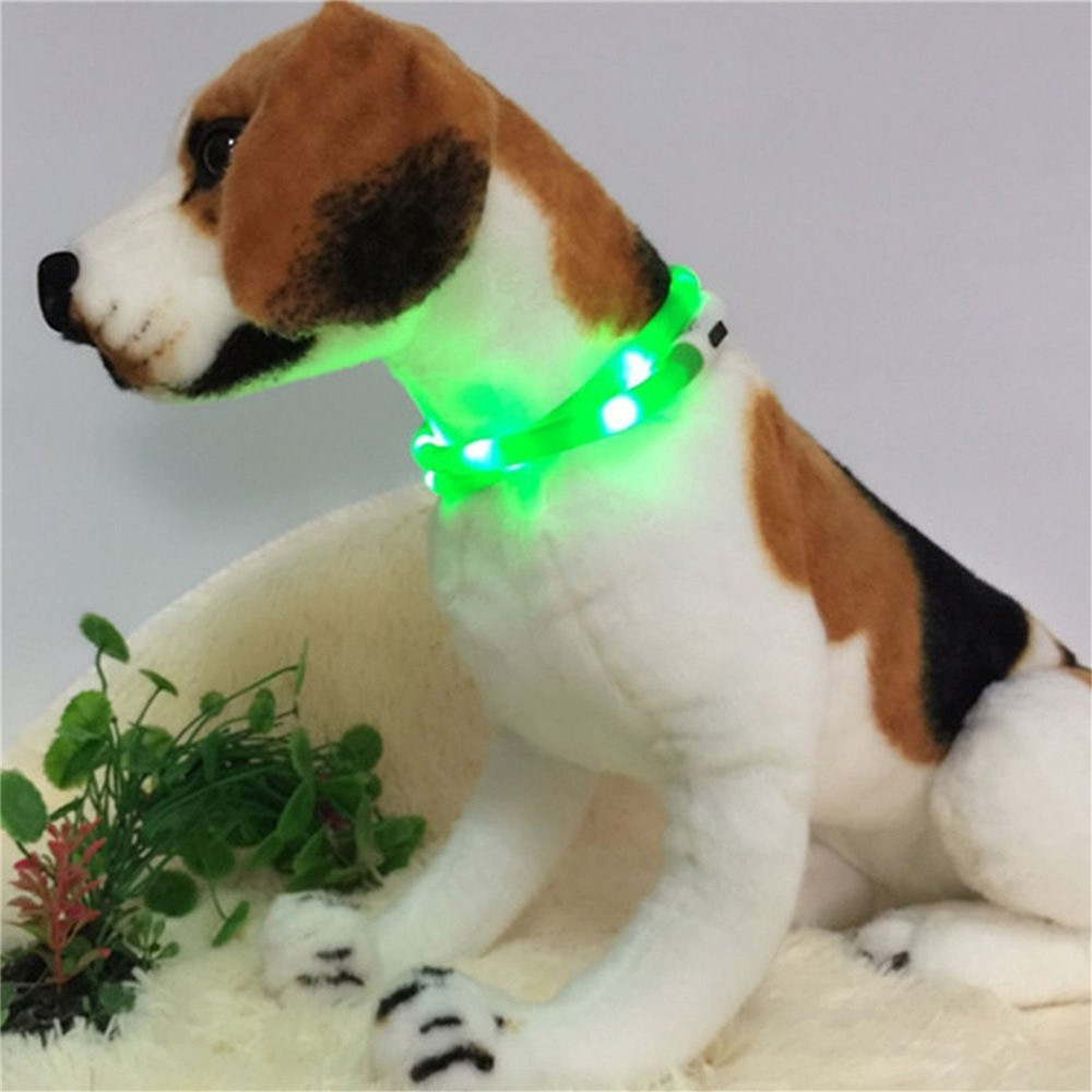 YWXLight LED USB Rechargeable Luminous Dog Collar GREEN