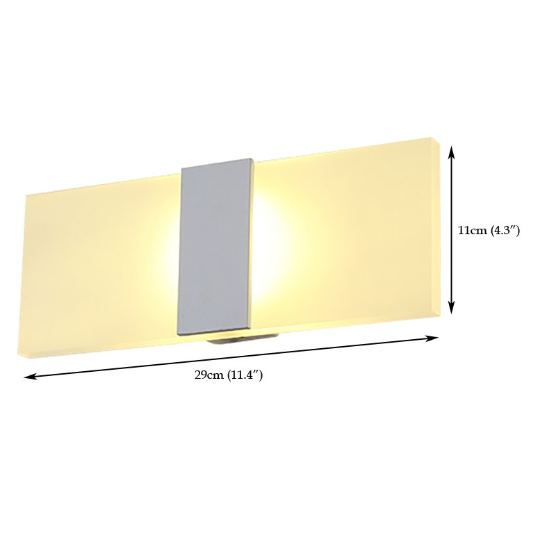 Everflower Modern Acrylic Max 5W Led Bedroom Wall Lamps Fixture Decorative Lamps Night Light for Pathway Staircase Balcony Drive Way Living Room White Color WARM WHITE LIGHT AC220-240