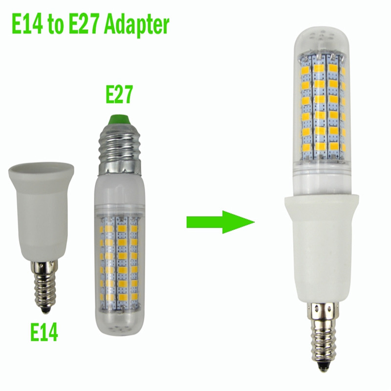 YouOKLight 1PCS E14 to E26 / E27 Light Lamp Bulb Adapter Converters WHITE + SILVER