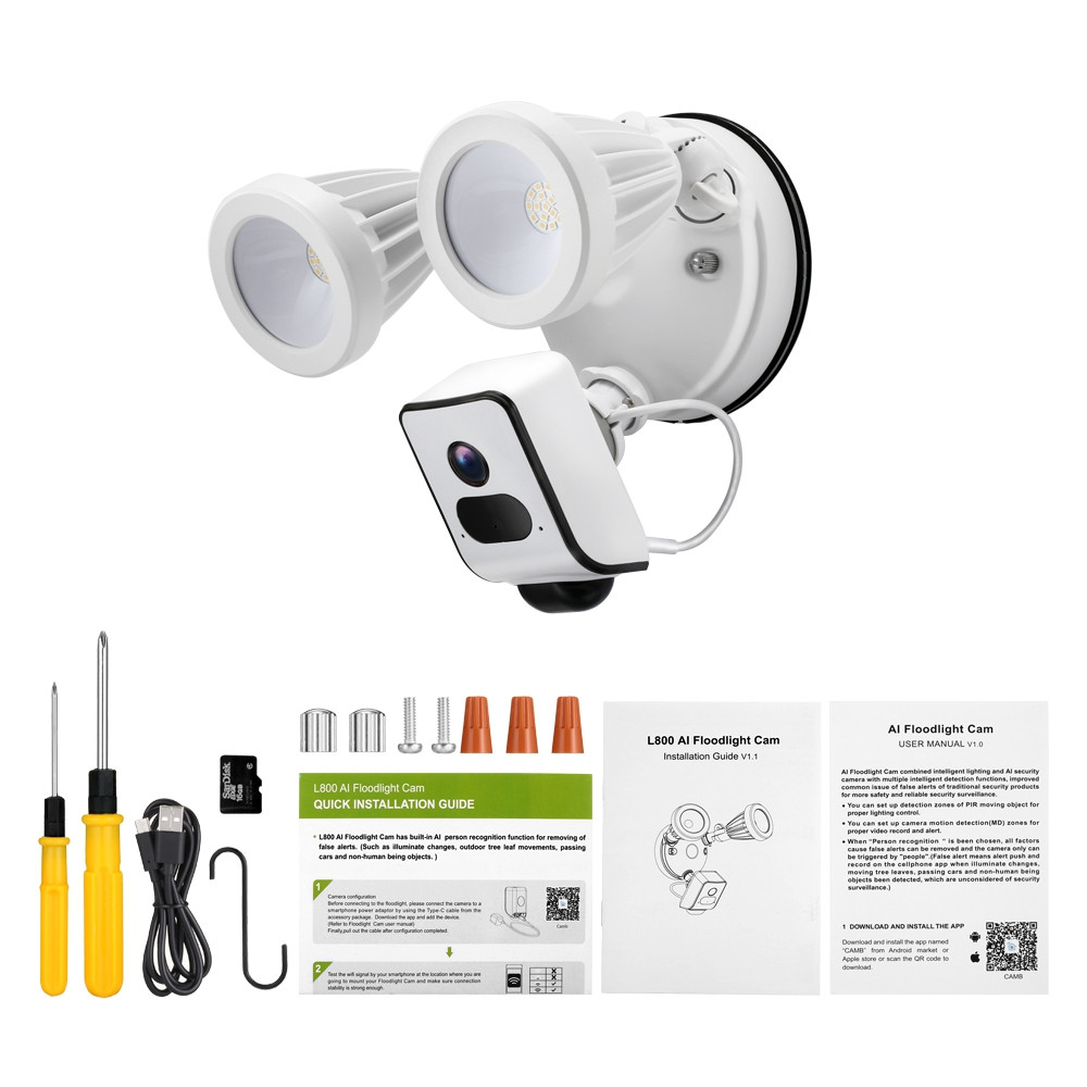L800 AI Floodlight Camera for Outdoor Security and Lighting